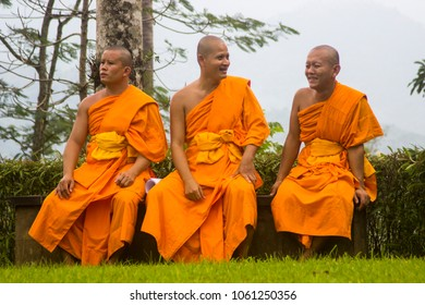 Borobudur temple, Magelang, Central Java, Indonesia : May 21th 2016 : Three monks were sitting relaxed before the waisak ceremony began