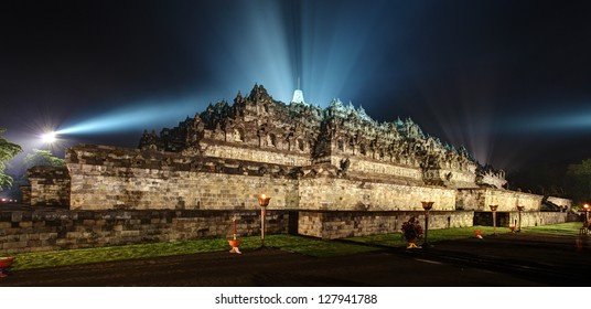 Borobudur Temple at the Night of Vesak Celebration