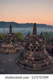 the Borobudur temple at sunrise