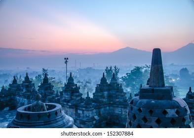Borobudur Temple at sunrise, Yogyakarta, Java, Indonesia.