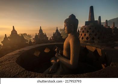 Borobudur Temple at sunrise, Yogyakarta, Java, Indonesia. (silhouette scene)