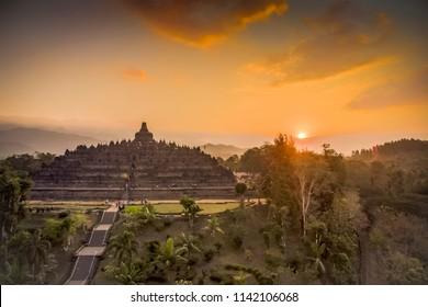 Borobudur temple sunset aerial photo, July 2018