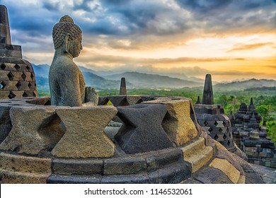 Borobudur Temple at sunset Yogyakarta, Java, Indonesia.