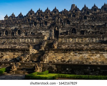 Borobudur temple Yogyakarta indonesia Java view early in the morning lonely