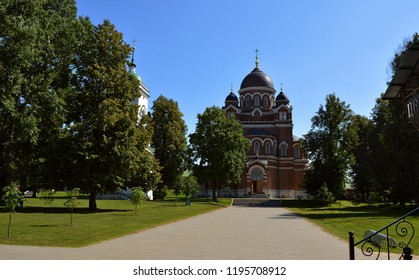 The Borodino Convent of Our Savior ( Savior-Borodino Monastery - Спасо-Бородинский монастырь) ontthe Borodino field (Russia). orthodox church. A summer landscape of the peaceful cathedral territory
