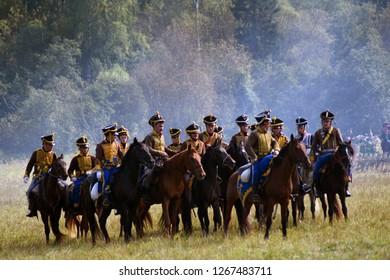 BORODINO, MOSCOW REGION, RUSSIA - SEPTEMBER 02, 2018: Reenactors participate at Borodino battle historical reenactment in Russia.