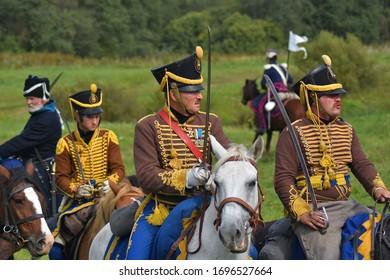 BORODINO, MOSCOW REGION, RUSSIA - SEPTEMBER 01, 2019: Reenactors participate at Borodino battle historical reenactment in Russia.