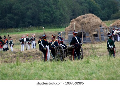 BORODINO, MOSCOW REGION - SEPTEMBER 03, 2017: Reenactors dressed as Napoleonic war soldiers at Borodino battle historical reenactment in Russia. Color photo.