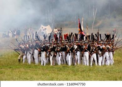 BORODINO, MOSCOW REGION - SEPTEMBER 03, 2017: Reenactors dressed as Napoleonic war soldiers at Borodino battle historical reenactment in Russia.