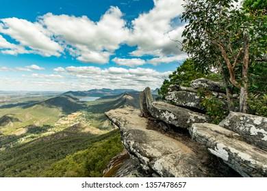 Boroka Lookout view. Grampians National Park in Victoria, Australia. Amazing landscape, mountains, lake, impressive sky.