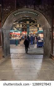 Borough Market, London / United Kingdom - Jan 18 2019: Entrance to Borough Market, London.