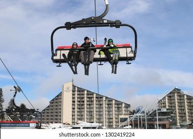 Borovets, Bulgaria - January 31, 2019: a lift in Bulgarian alpine ski resort Borovets. Borovets is a popular ski resort in Samokov Province, Bulgaria.