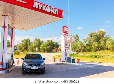 BOROVICHI, RUSSIA - AUGUST 6, 2016: Car Nissan Qashqai at the Lukoil gas station. Lukoil is the largest privately owned oil and gas company in the world by proved oil reserves