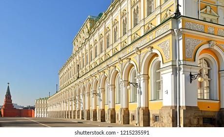 Borovitskaya Tower (1490) and Grand Kremlin Palace (1837-1849). Moscow, Russia