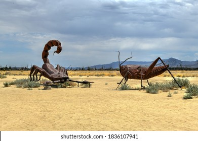 Borrego Spring, CA - July 12, 2020: Outdoor metal sculpture of a scorpion and grass hopper, close to Anza-Borrego Desert State Park.