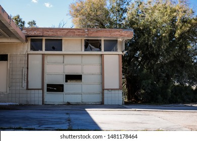 Borrego Springs, California - March 2  2019: The garage to an abandoned rest stop in the middle of the Anza-Borrego Desert.