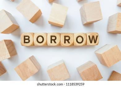 Borrow word on wooden cubes