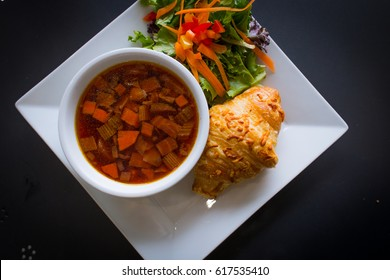 Borsch with Croissant and Salad