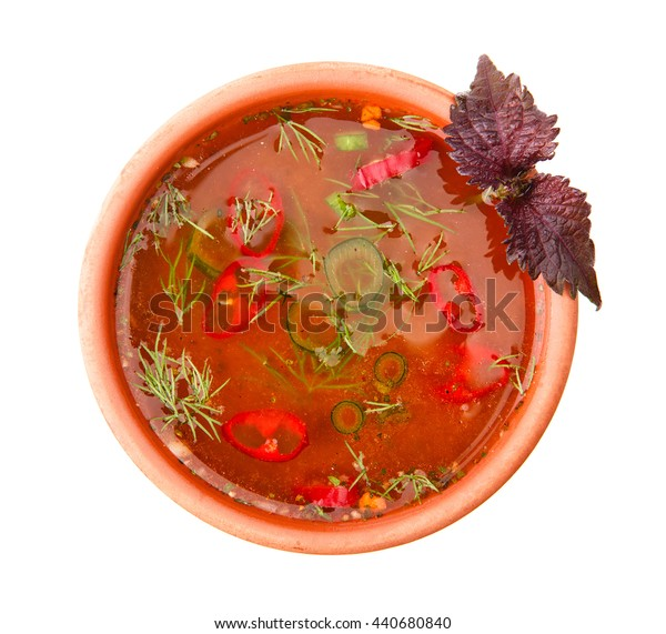 Borsch  soup isolated on white. Top view.