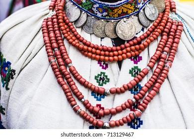 Borschiv, Ukraine - September 2017: Ukrainian traditional clothes for women for sale at Borschiv traditional market in Ukraine