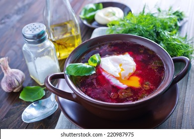 Borscht with beet and egg