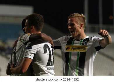 Borussia Monchengladbach's players  celebrate a goal during the Uefa Europa League game  against Apollon FC  in Gsp Stadium on November 6,2014