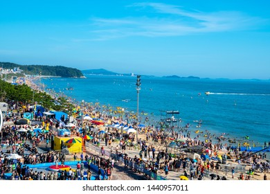BORYONG KOREA Boryeong Mud Festival at Daecheon beach, South Korea on 14 July 2018.There are tourists around the world coming here.