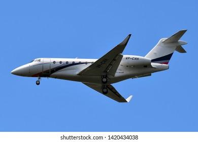 Boryspil International Airport / Ukraine - June, 07, 2019: private aircraft Gulfstream G280 VP-CVH