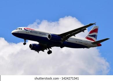 Boryspil International Airport / Ukraine - June, 07, 2019: British Airways Airbus A320-232 G-EUUM