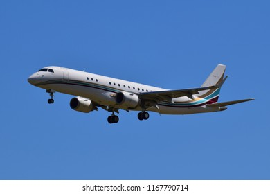 Boryspil International Airport / Ukraine - May, 26, 2018: Flying Service Embraer 190 Lineage 1000 OO-NGI