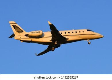 Boryspil International Airport / Ukraine - May, 19, 2019: Mjet Gulfstream G200 OE-HMA