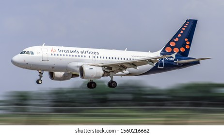 Boryspil, Kyiv region / Ukraine May.26.2019: Jet Airplane - Final Approach. Operator: Brussels Airlines reg. OO-SSQ, Aircraft: Airbus A319