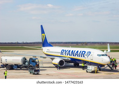 Boryspil, Kyiv/Ukraine - 04.18.2019: Boeing 737-8AS from Ryanair at Boryspil International Airport. The airline airplane is waiting for passengers before take off. Ryanair is an Irish low-cost airline