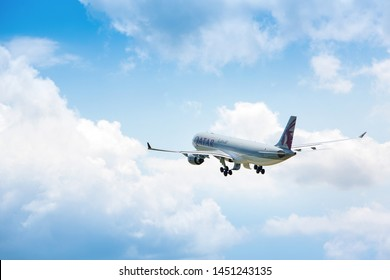 Boryspil, Ukraine - 11 May 2019: Airplane Airbus A320 of Qatar Airways taking off from Boryspil International Airport