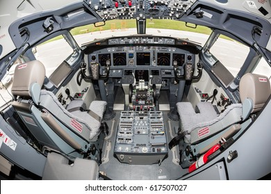 Boryspil, Ukraine - APRIL 06, 2017: Boeing 737 cockpit. Boeing 737-800. Pilot's seats. Modern aircraft. Airplane cockpit.