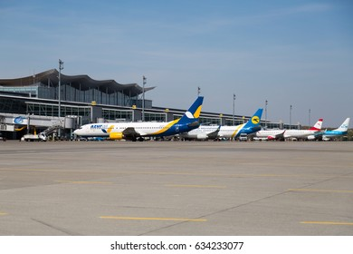 Boryspil, Ukraine - APRIL 27, 2017: Airport panoramic view. Airport apron overview. Aircrafts at the airport gates. Kiev Boryspil International airport.