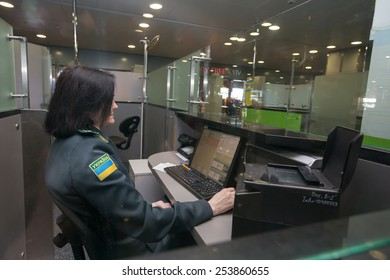 """BORYSPIL, UKRAINE - FEBRUARY, 18, 2015: The zone of passport control in Terminal """"D"""" at the Boryspil airport"""