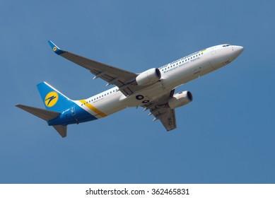 Boryspil, Ukraine - July 13, 2011. Ukraine International airlines Boeing 737 takeoff at Borispol International Airport