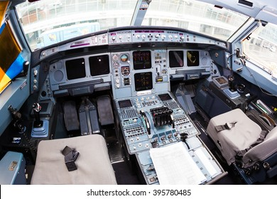 Boryspil, Ukraine - MARCH, 2016: Cockpit of the aircraft Airbus A340. Airline Mahan Air Airbus A340 cockpit. Airbus sidesticks. Cockpit displays, throttles on March 20, 2016 in Boryspil