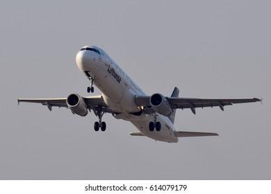 BORYSPIL, UKRAINE – MARCH, 22, 2017: Lufthansa Airbus A321-100 - D-AIRW landing, Boryspil International Airport
