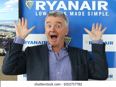 BORYSPIL, UKRAINE - MARCH 23, 2018: Ryanair Chief Executive Officer Michael O'Leary poses for a photo during Ryanair Press-conference at Kyiv Boryspil Airport dedicated to Ukraine market entry