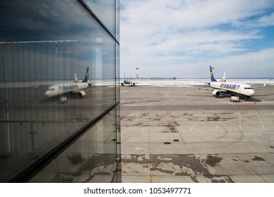 BORYSPIL, UKRAINE - MARCH 23, 2018: Ryanair starting flights to Ukraine. Ryanair aircraft Boeing 737-800 at the  Kyiv Boryspil Airport. Lowcost airline.