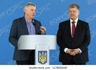 BORYSPIL, UKRAINE - MARCH 23, 2018: President of Ukraine Petro Poroshenko and Ryanair's CEO Michael O'Leary during Ryanair Press-conference dedicated to Ukraine's market entry