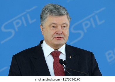BORYSPIL, UKRAINE - MARCH 23, 2018: President of Ukraine Petro Poroshenko makes a speech during Ryanair official Press-conference at Kyiv Boryspil Airport dedicated to Ukraine's market entry
