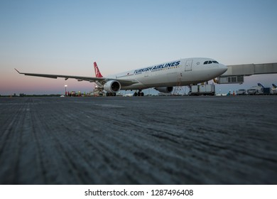 Boryspil, Ukraine - MAY 26, 2018: Turkish Airlines aircraft. Modern airport. Jet bridge. Preparing for the flight. Travel with Turkish airlines. Airbus A330.