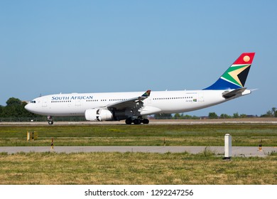Boryspil, Ukraine - MAY 26, 2018: South African airline aircraft. Airport runway. Landing airplane.