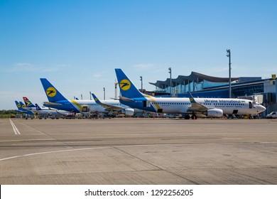 Boryspil, Ukraine - MAY 26, 2018: Airport panoramic view. Modern airport terminal. Aircrafts at the airport gates. Kiev Boryspil International airport. Ukraine International airlines aircrafts.