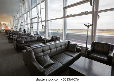 Boryspil, Ukraine - NOVEMBER 01, 2016: Airport VIP lounge. Airport business class lounge. Airport interior. Airport waiting hall. Leather furniture.