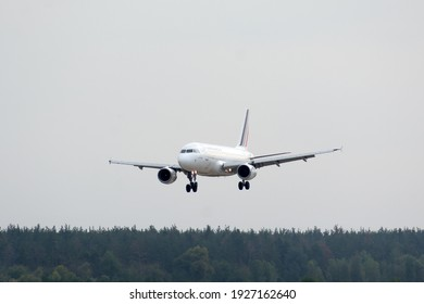 Boryspil, Ukraine - October 10, 2020: Airplane Airbus A319 of Air France Airlines is landing in Boryspil International Airport