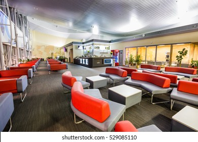 Boryspil, Ukraine - OCTOBER 27, 2016: Airport VIP lounge. Airport business class lounge. Airport interior. Airport waiting hall.